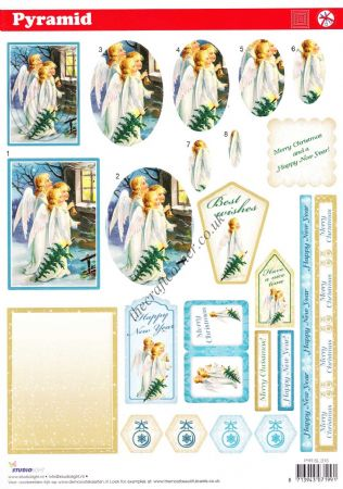 Angels At Christmas Pyramid Die Cut 3d Decoupage Sheet